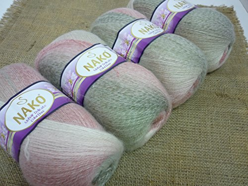 (40% Mohair 60% Acrylic Yarn Mohair Angora Wool Yarn NAKO Mohair Delicate Colorflow Thread Crochet Hand Knitting Turkish Yarn Lot of 4skn 400gr Color Gradient)
