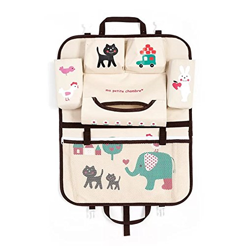 - TZINSUN Thick Cartoon Oxford Fabric Backseat Organizer(Biege with Elephant and Rabbit Printing)