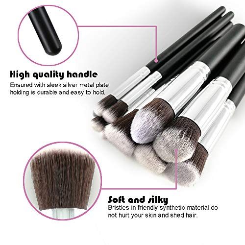 WEBEAUTY Makeup Brushes Set Bag 10 Pieces Premium Synthetic Foundation Brush Blending Face Powder Blush Concealers Eye Shadows + Bonus Blender Sponge and Brush Egg (10+3pcs,Black/Silver) Gift For Lady