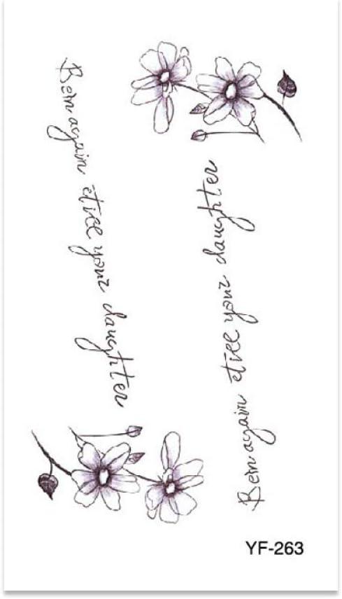Pegatinas de tatuaje de flor de mariposa de alfabeto inglés ...