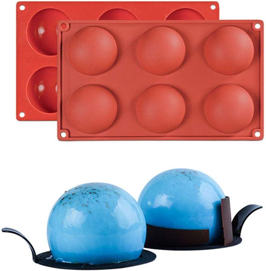 Molde Antiadherente de la Torta de Silicona Forma de Semi Esfera Hemisferio Moldes de Silicone para Reposter/ía Bizcocho//Chocolate//Pud/ín//Jabon//Pastel//Pasteler/ía #2
