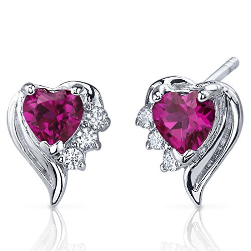 Created Ruby Earrings Sterling Silver Heart Shape CZ Accent by Peora