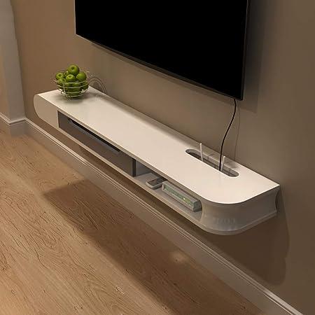 LBYMYB Armazón de Pared Mueble de TV Rack de TV Estante para televisor Estante de Consola de TV Unidad de Almacenamiento Rack de Almacenamiento Caja de Cable Flotante Blanco Marco de Pared: