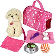 Click n' Play 9 piece Doll Puppy Set and Accessories. Perfect For 18 inch American Girl D