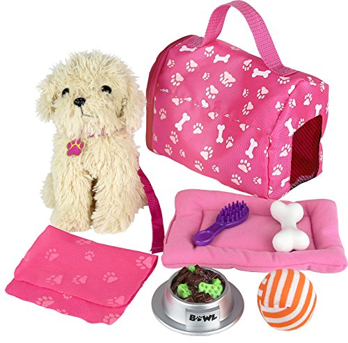 (Click n' Play 9 piece Doll Puppy Set and Accessories. Perfect For 18 inch American Girl Dolls)
