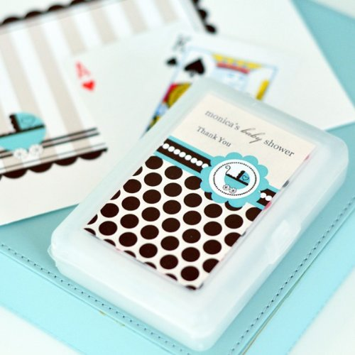 Personalized Playing Cards - Blue Baby - Total 50 items (Favors Playing Wedding Cards Personalized)