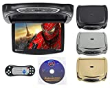 Rockville RVD14BGB Black/Grey/Tan 14' Flip Down Car Monitor W DVD/HDMI/Games/USB