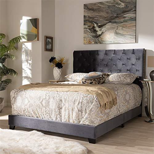 Baxton Studio Candace Velvet Tufted Queen Bed in Dark Grey
