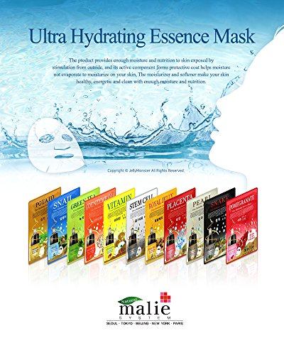 100 pcs Korean Ultra Hydrating Essence Mask Sheets ( 10 x 10 Types) --- Aloe, Collagen, Cucumber, Coenzyme Q10, Pearl, Placenta, Royal Jelly, Snail,Stem Cell, Vitamin
