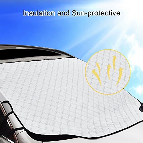 GoldFox Car Windshield Snow Cover & Sun Shade Protector, Ice Removal Winter Summer Dust Frost Guard Protector Fits most Car, All Season Car Windshield Cover
