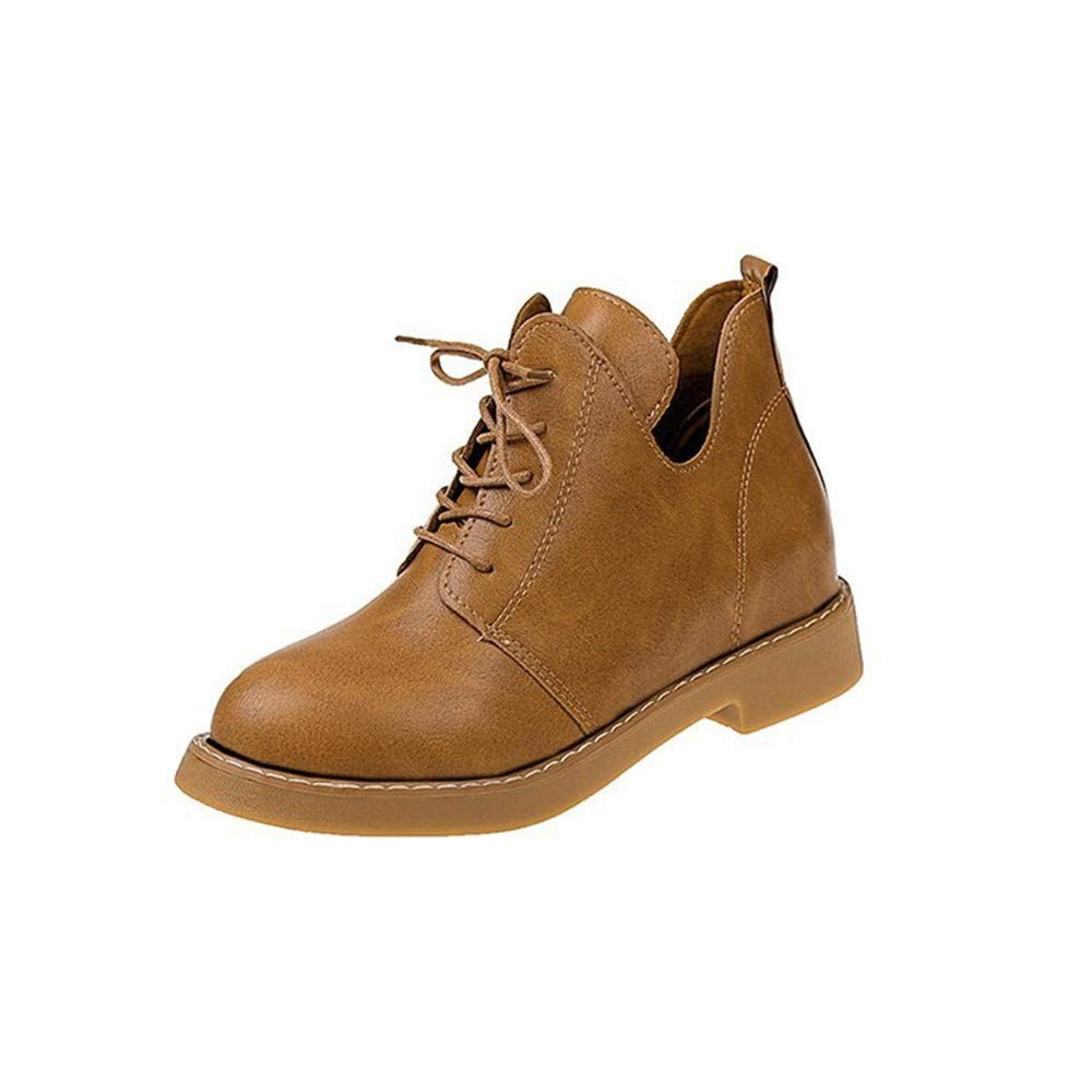 Light brown EU40 UK8 US10 Boots Comfortable and Versatile Retro Women's Autumn Leisure Round Head Lace Up Boots
