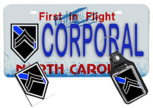 3 Piece Package- North Carolina Law Enforcement Novelty Vanity License Plate, Key Ring & Decal - Corporal Police Officer