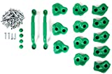 Powerfly Kids Rock Wall Climbing Holds – Set of 2 Safety Handles & 12 Screw On Green Climbing Jugs – Swing Playset Playground Equipment Accessories – Indoor or Outdoor Use – Mounting Hardware Included