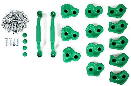 Powerfly Kids Rock Wall Climbing Holds - Set of 2 Safety Handles & 12 Screw On Green Climbing Jugs - Swing Playset Playground Equipment Accessories - Indoor or Outdoor Use - Mounting Hardware Included by Powerfly