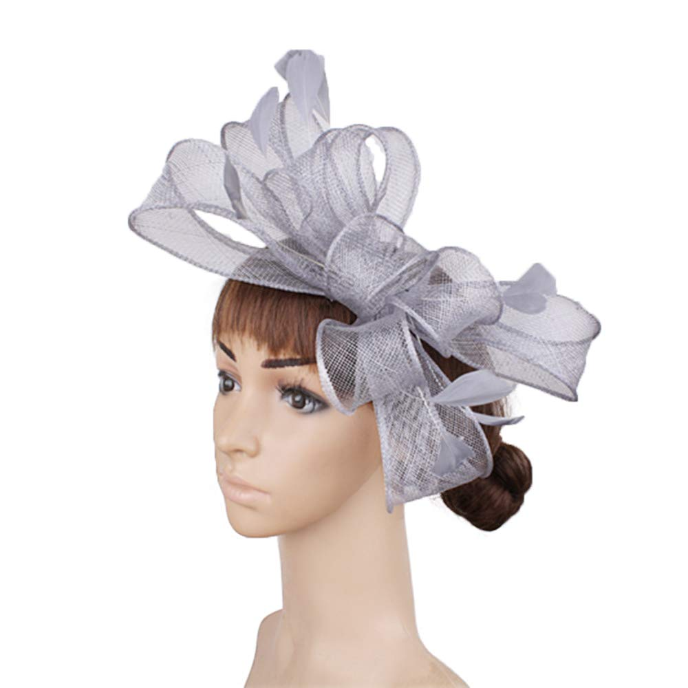 YONQUIL Sinamay Fascinator Hats with Feather Good Bridal Wedding Hats Cocktail hat SYF280
