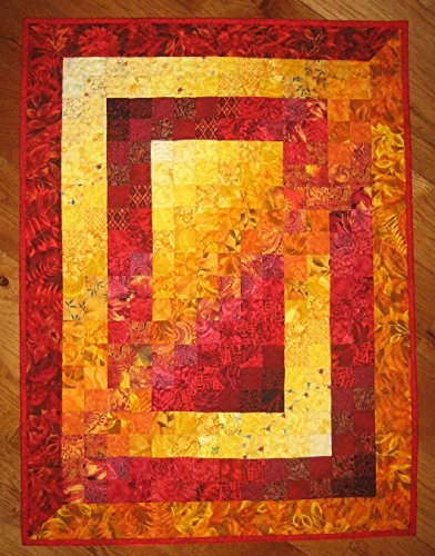 Wall Art, Fire Red Yellow Orange Fabric Wall Hanging Abstract 26 x 35'' Cotton by Tahoe Quilts