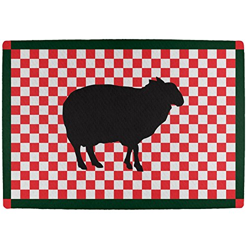 White Kitchen Floor Mats: Country Kitchen Checkerboard Sheep All Over Indoor Mat
