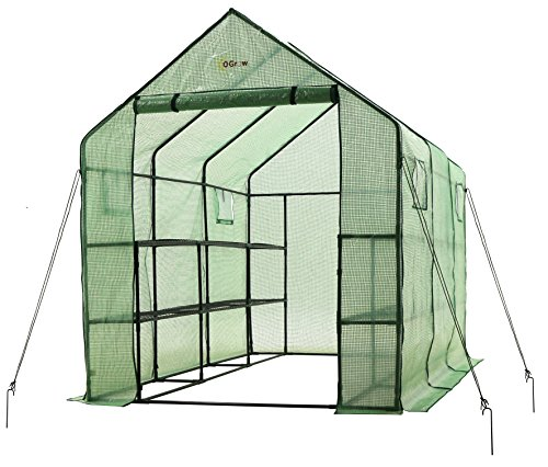 Ogrow 2 Tier 12 Shelf Portable Garden Walk-in Greenhouse, 117 x 67 x 83″, Dark Green