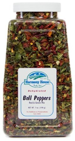 Harmony House Foods Dried Mixed Red & Green Bell Peppers, diced for Cooking, Camping, Emergency Supply, and More