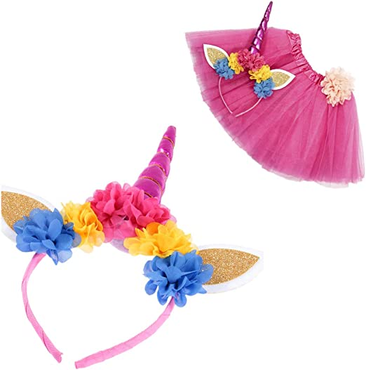 Amosfun - Set de Disfraz Infantil de Unicornio con Orejas y Flores ...