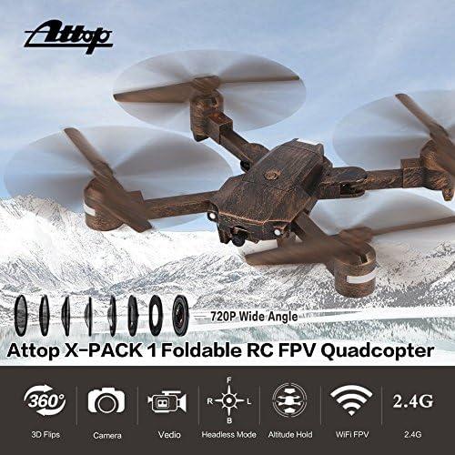 Momorain Attop X-PACK1 RC Drone 720P Cámara Gran Angular WiFi FPV Plegable Quadcopter: Amazon.es: Juguetes y juegos