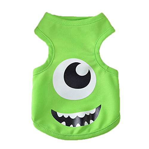[2017 Halloween Party Monster Inc Bigeyes Mike Cosplay Costume Dog Cat Apperal(Green, Small)] (Monster Inc Mike Costume)