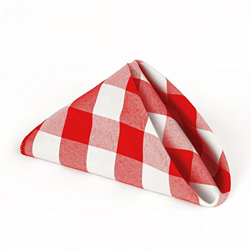 LinenTablecloth 15-Inch Polyester Napkins (1-Dozen) Red & White Checker]()