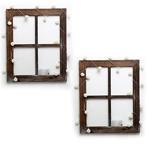 Cade Rustic Wall Decor-Home Decor Window Barnwood Frames -Room Dcor for Home or Outdoor, Not for Pictures(2, 18.1X22.1-with 2 Pack Lights) (Countries With The Letter X In Them)