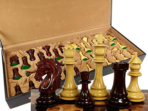 tallion Knight 4 3/4 Inch King Double Queens Large Staunton Chess Men Set with Flat Vinyl Storage Box - NO Board ()