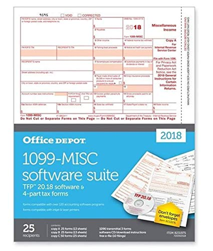 Office Depot Brand 1099-MISC Inkjet/Laser Tax Forms with Software for 2018 Tax Year, 2-Up, 4-Part, 8 1/2