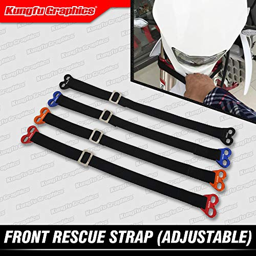 Kungfu Graphics Front Adjustable Rescue Strap for Dirtbikes Motocross Enduro Supercross Universal, Blue ()