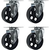 "4 All Steel Swivel Plate Caster Wheels Heavy Duty High-gauge Steel (4"" No Brake)"