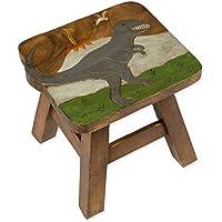 Tyrannosaurus Rex Dinosaur Design Hand Carved Acacia Hardwood Decorative Short Stool