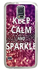 I Keep Calm And Sparkle PC Transparent Hard Case Cover Skin For Samsung Galaxy S5 I9600