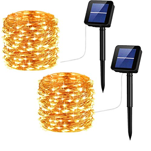 Solar String Lights Copper Wire 33ft100LED Outdoor String Lights Waterproof Decorative String Lights for Patio Garden GateYard Party Wedding (Warm White 2pack)