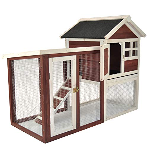 Advantek Auburn Stilt House Rabbit Hutch with Connected Run, Easy Cleaning - Fits 1-2 Rabbits