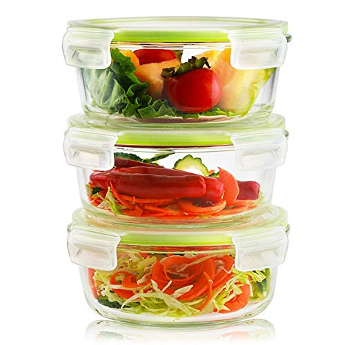 Living Express 6 Pieces Glass Food Storage Container Set (3 containers +3 lids) with Snap Locking Lid,Airtight,Microwave,Oven,Freezer,Dishwasher Safe,32 oz,BPA-Free(Round)