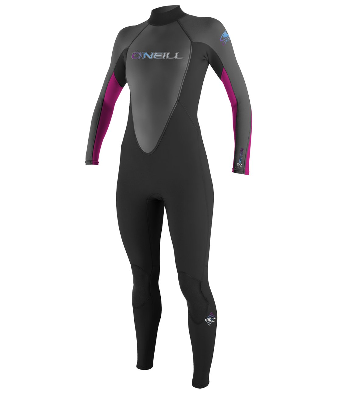 O'Neill   Women's Reactor 3/2mm Back Zip Full Wetsuit,Black/Graphite/Berry,4