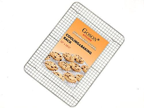 Goson Bakeware Cooling Baking Racks, 1/2 Size 12'' by 17'', Cross Wire Rack, Baking Pan Baking Sheet Friendly, Anti-Rust Chrome. by Goson