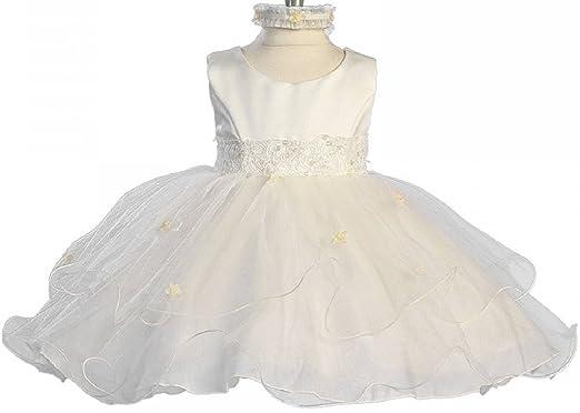 c4e25c7cacfc Little Baby Girls Infant Tulle Christening Baptism Satin Flower Girl Dress  (21KD0) Ivory XS