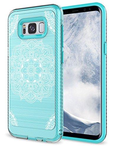Galaxy S8 Plus Case, Rosebono Premium Slim Fit Sleek Shockproof Carbon Fiber Mandala Pattern Design Drop Protection Protective Case Cover for Samsung Galaxy S8 Plus (Green Mehandi)