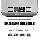 Etekcity Upgraded Digital Kitchen Food Scale Multifunction Small Scale, Back-lit LCD Display, 0.04oz/1g Increment, 11 lb 5 kg, Food Grade 304 Stainless Steel (Batteries Included)