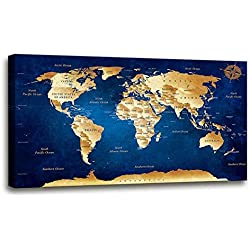 """Wall Art blue map of the world Painting Ready to Hang -20"""" x 40"""" Pieces Large Framed wall art world Map Canvas Art Map wall decorations Artwork Prints for Background For Home Office Decoration."""