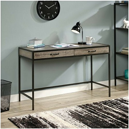 Metro Office Table - Classic Design Mainstays Stylish Metro Home Office Desks with Two Drawers (Grey Oak)