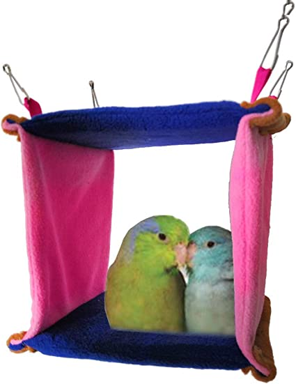 Keersi Warm Bird Nest House Bed Hanging Hammock Toy for Budgie Parakeet Cockatiel Cockatoo Conure Lovebird African Grey  Macaw Eclectus Medium Large Parrot Cage Perch Stand