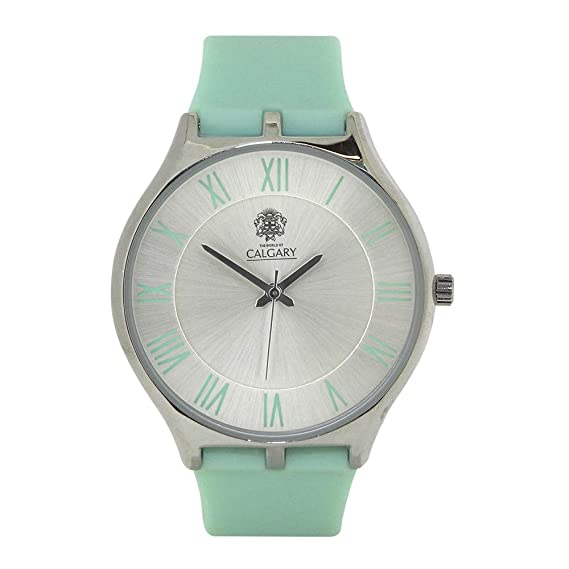 Relojes Calgary Blue Lagoon. Reloj para Mujer, Correa de Silicona Color Turquesa y Esfera Gris: Amazon.es: Relojes