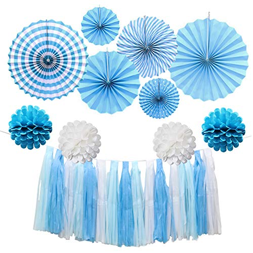 13 Pcs Blue Paper Fan Hanging Decorations Set with Pom Poms Flowers, Tassel Garlands for Party Supplies, Wedding, Baby Shower, Events -