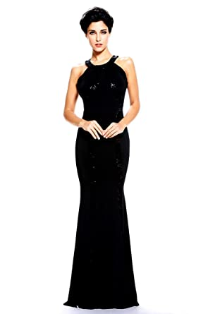 Montmo Womens Gorgeous Jersey Sequin Trim Evening Dress Long Gown (Black) M