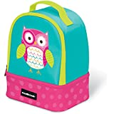 """Crocodile Creek Eco Kids Owl Insulated Two Compartment Girls Lunchbox with Handle, 9.5"""""""