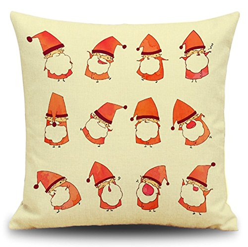 MHB Retro Many Small Christmas Santa Linen Square Throw Pillow Cover Decorative Cushion Pillowcase for Sofa 18 x 18 Inch